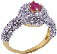 Rimjhim Fashion American Diamond Party Wear Pink Ruby Brass, Copper Cubic Zirconia 22K Yellow Gold Plated Ring