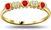 Surat Diamond Diamond & Ruby Gold Ring SDR971 Yellow Gold Diamond, Ruby 18 K Ring