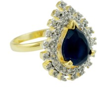 Orniza Cz Diamond In Navy Blue Color With Two Tone Polish Brass White Gold Ring
