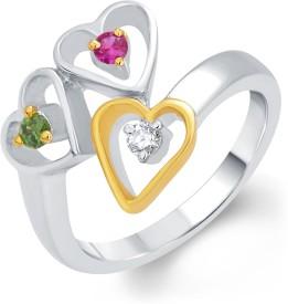 TARAMA Sterling Silver Swarovski Zirconia Yellow Gold, Silver 22 K Ring