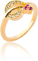 Fashion Bajar Opulent Alloy, Brass Ruby, Zircon 24K Yellow Gold Plated  K Ring