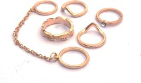 Joovaa New Fashion Punk Jewellery Alloy Rose Gold Chain Ring - Multi Finger