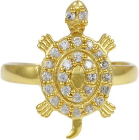 Exxotic Jewelz Traditional Tortoise Silver Cubic Zirconia 24K Yellow Gold Ring