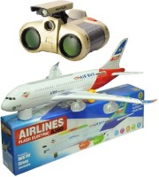New Pinch Binocular With Musical Plane Bump And Go With Lights