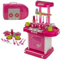 Tiny Mynee Kitchen Set Kids Luxury Battery Operated Kitchen Super Set Toy With Light And Sound Carry Case