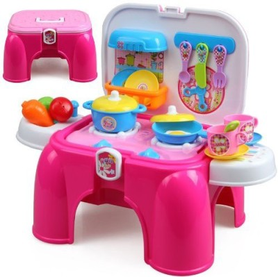 zest4toyz Role Play Toys zest4toyz Portable Kitchen Set & Stool Chair for Kids with a Stylish n innovative Design for easy storage and sitting