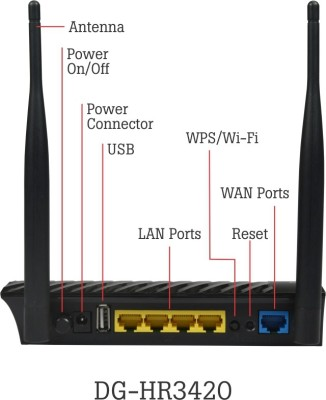 Digisol DG-HR3420 300 Mbps Wireless Home Router with USB Port (Black)