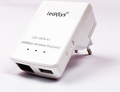 Leoxsys 300M WiFi Repeater Wireless 11N signal Booster range extender Router (White)