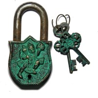 Unravel India Dog Brass Safety Lock - Black, Green-105