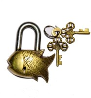 Unravel India Fish Brass Safety Lock - Gold-98