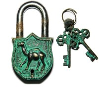 Unravel India Camel Brass Safety Lock - Black, Green-105