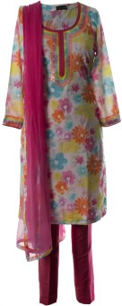 AzraJamil Floral Print Churidar Suit