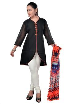 Darbari Printed, Solid Churidar Suit