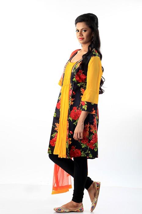 Darbari Floral Print Churidar Suit