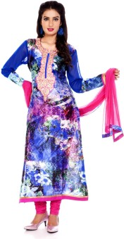 Charming Floral Print Churidar Suit - SWDE6ZVGFSNMBYEW