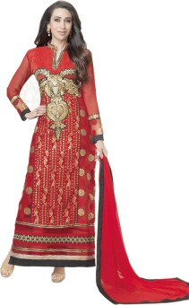 Glitzy Embroidered Georgette,long Semi-stitched Salwar Suit