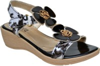 Zebra Kids Black Floral Print Sandal Wedges