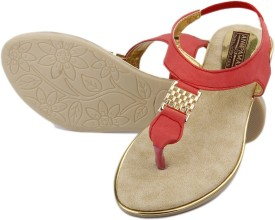 Anupamaa Golden Patch Red Chappel Women Flats
