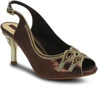 Get Glamr Brown Peep Toe Women Heels