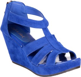 Soft & Sleek Blue Suede Strap Girls Wedges