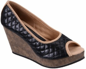 Soft & Sleek Black Synthetic Girls Wedges