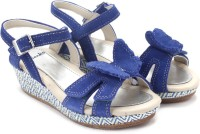 Clarks Harpy Fly Blue Suede Girls Blue Sports Sandals Blue