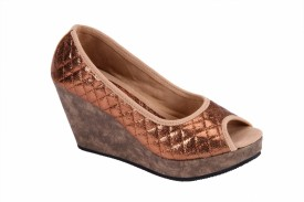 Soft & Sleek Copper Synthetic Girls Wedges