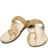 Do Bhai Women Gold Flats Gold