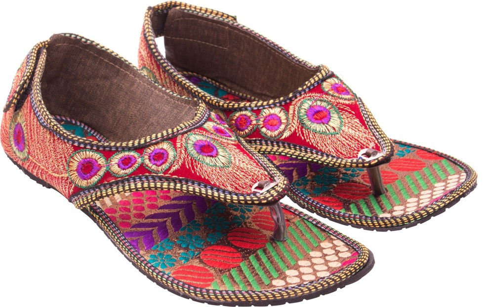Myra Pair Of Multicolored Embroidered Sandals Flats