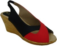 Senso Vegetarian Shoes Ladies Black Peep Toe Wedges