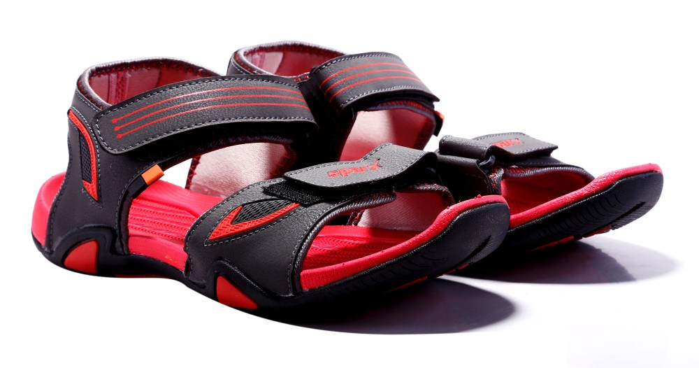 Sparx Men Grey Red Sandals Grey Red