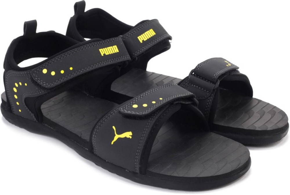 Puma Men Black Grey Yellow Sports Sandals Black Grey Yellow