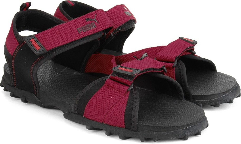 Puma Rio Men Black Maroon Sports Sandals Black Maroon