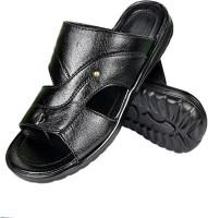 Nonch Le Bright Black Leather Sandals