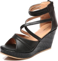 Marc Loire Pilar Black Peep Toe Wedges