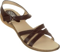 Zovi Brown Crisscross Strapped With Ankle Strap Women Flats