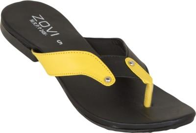 Zovi Zovi Black And Yellow With Studs Embellishment Flats
