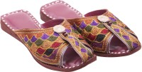 Ridhi Sidhi Peep-Toe Leather Flats