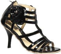 Senso Vegetarian Ladies Flowery Strapped Black Heels
