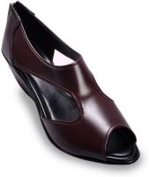Ajanta Brown Peep-Toe Pump By Leather Wedges