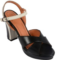 Salt N Pepper 14-048 Megan Black White Leather Heels