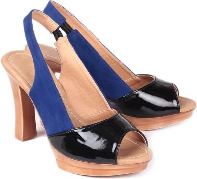 Ruby Black Block Women Black, Blue Heels Black, Blue