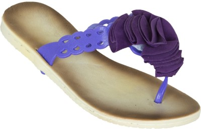 Zovi Zovi Beige Sandals With Purple Floral Brooch On Straps Flats (Beige\/Sand\/Tan)