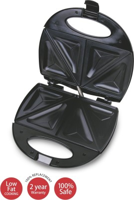 Lifelong Sandwich & Panni Maker (112 Large Triangle Plate) Toast, Grill (Black, Stainless Steel)