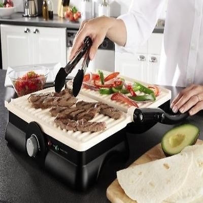 Nova 3 in 1 Panni Grill Press with Adjustable Temperature Control and Ceramic Coating (Black and White)