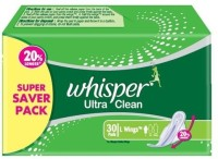 Whisper Ultra Clean L Wings Sanitary Pad (Pack Of 30)