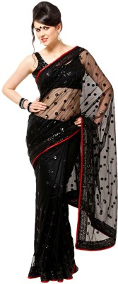 Ethnicpark Self Design Bollywood Handloom Net Sari (Black)