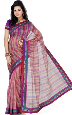 Saree Swarg Striped Embellished Net Sari