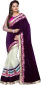 Abhinetri sarees Embriodered Fashion Velvet, Net Sari