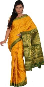 Alankrita Self Design Kanjivaram Art Silk, Jacquard, Silk Sari Yellow, Green